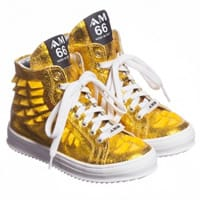 AM66 Gold Leather High-Top Trainers