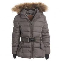 Airforce Girls Green Puffer Coat With Fur Trim Hood