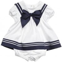 Aletta Baby Girls White Cotton Sailor Dress and Shorts Set