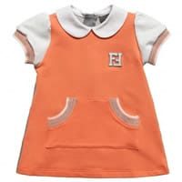 Fendi Baby Girls Orange and Grey Cotton Dress