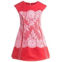 Little Marc Jacobs Red Cotton and Lace Dress with Neon Pink Trim