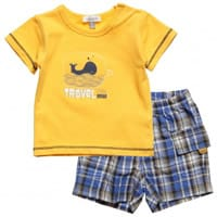 absorba Baby Boys Yellow Cotton T-Shirt and Shorts Set