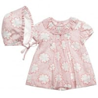 Ancar Pink Floral Cotton Dress and Bonnet Set