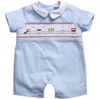 Annafie Baby Boys Blue Hand-Smocked Romper with Trains