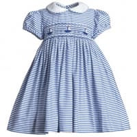 Annafie Baby Girls Blue Stripe Smocked Dress