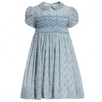Annafie Blue Liberty Print Hand-Smocked Dress