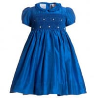 Annafie Blue Silk Hand-Smocked Dress