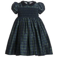 Annafie Blue Tartan Smocked Silk Dress