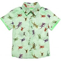 Anne Kurris Boys Green Cotton Tropical Print Shirt