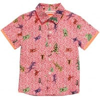 Anne Kurris Boys Red Cotton Tropical Print Shirt