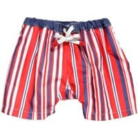 Archimede Boys Red Striped Swim Nappy Shorts