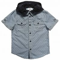 Armani Junior Boys Blue Cotton Shirt with Removable Hood