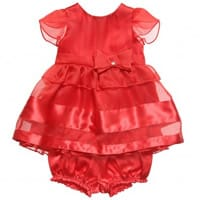 Armani Junior Girls Red Silk Dress and Knickers Set