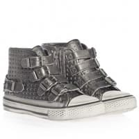 Ash Girls Silver Leather High-Top Trainers