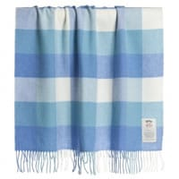Avoca Blue Check Lambswool Blanket (110cm)