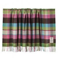 Avoca Green Check Lambswool Blanket (142cm)
