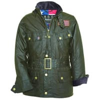Barbour boys waxed winter jacket