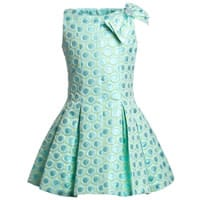 David Charles Blue Brocade Dress with Pleated Skirt