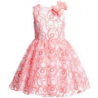 David Charles White and Neon Pink Organza Dress
