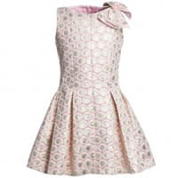 David charles Pink Brocade Dress with Pleated Skirt