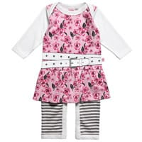 Dijjie Baby Girls Pink Floral Print Cotton Romper Dress