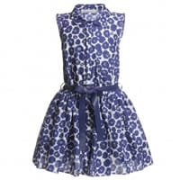 Dior Blue Floral Cotton Dress and Leather Belt