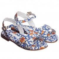 Dolce & Gabbana Girls Blue Printed Brocade Sandals