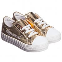 Dsquared2 Girls Gold Metallic Leather Trainers