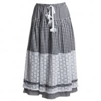 Ermanno Scervino Black and White Gingham Cotton Maxi Skirt