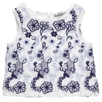 Ermanno scervino Girls White Short Tulle Embroidered Cotton Blouse