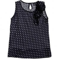European Culture Girls Navy Blue Spotted Viscose Top