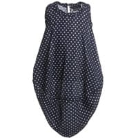 European Culture Navy Blue Spotted Viscose Dress