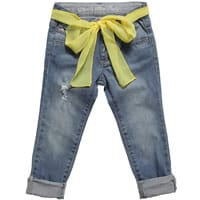 Fun & Fun Girls Blue Cropped Jeans With Chiffon Belt