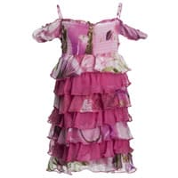 Fun & Fun Pink Floral Chiffon Tiered Dress