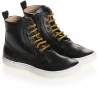 Gallucci Black Leather High-Top Brogue Trainers