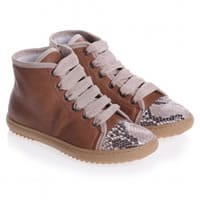 Gallucci Girls Brown Leather High-Top Trainers