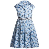 Gucci Blue Silk Dress and Belt Set