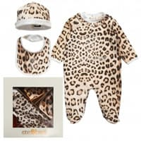 Roberto Cavalli Girls Cotton Leopard Babygrow, Hat and Bib Gift Set