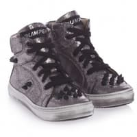 bumper shoes Black and Silver Leather High-Top Trainers