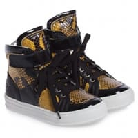 bumper shoes Black and Yellow Leather High-Top Trainers