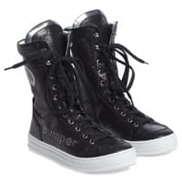 bumper shoes Girls Black Leather High-Top Trainers