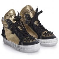 bumper shoes Gold Leather and Studded High-Top Trainers