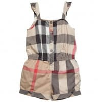 burberry Girls Beige Checked Cotton Playsuit