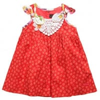 catimini red floral cotton dress