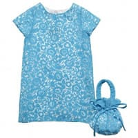 charabia Blue Viscose Dress and Bag Set