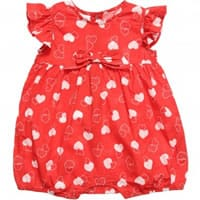 IDO Baby Girls Red Hearts Bubble Shortie