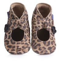 Inch blue Brown Leather Leopard Print Pre-Walker Bootees