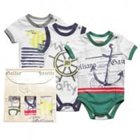 John galliano Baby Boys Cotton Bodysuit Gift Set (pack of 3)