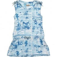 John galliano Blue Viscose Jersey 'Gazette' Print Mini Dress