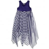 Junior Gaultier Navy Blue Striped Viscose and Tulle Dress